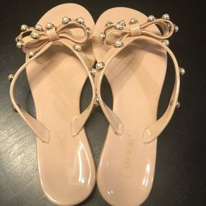 NWOT tan sandals with pearls